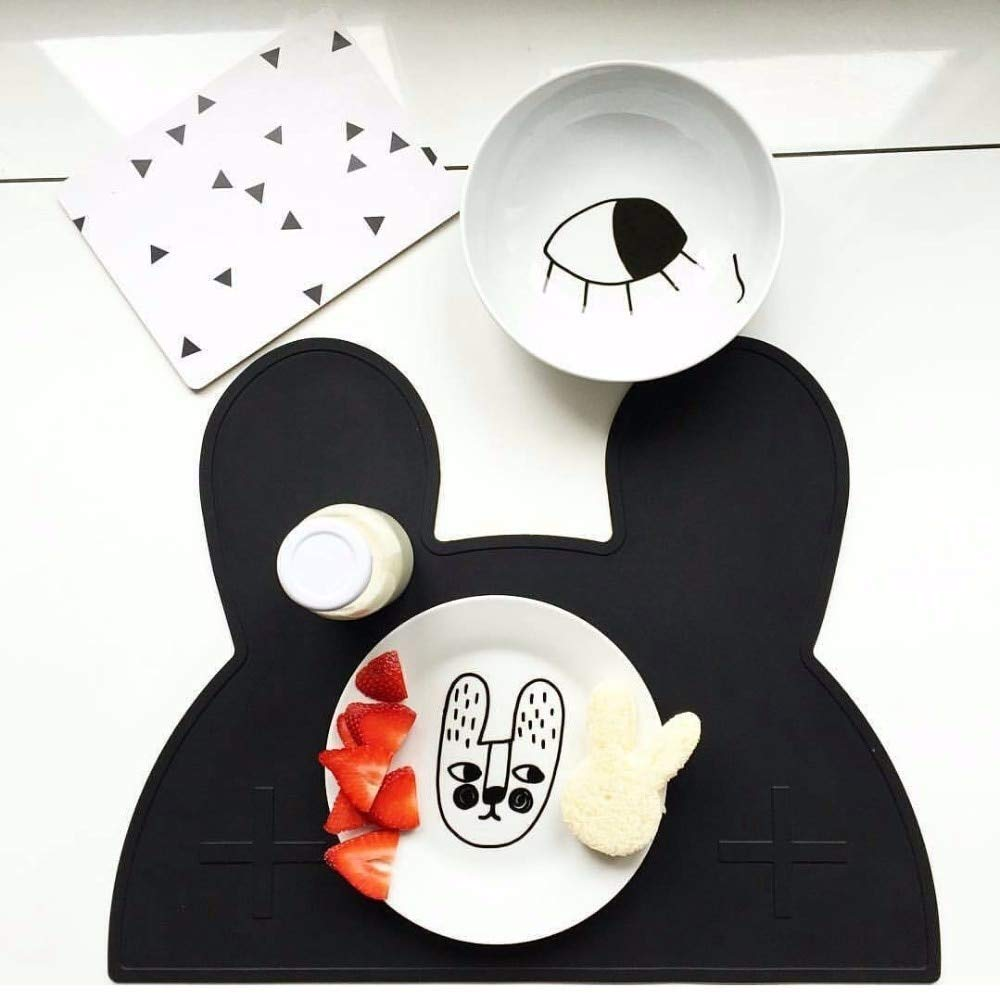 Rubber Placemats Silicone Portable Placemat Lovely Bear Bunny Rabbit Car Kids Baby Heat Resistant Pad Coaster Free Waterproof Tableware Mat