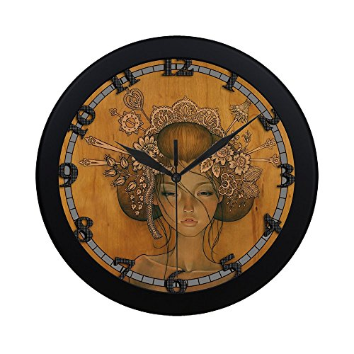 Cheap woman drawing by audrey kawasaki uswcjul568 New Wall Clock Decorative Decor Home Office