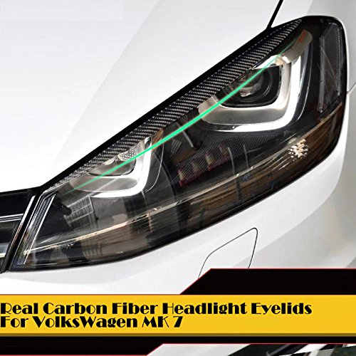 (Set of 2) Pinalloy Real Carbon Fiber Headlight Eyelids Eyebrows For VolksWagen VW MK 7 (Fiber 430 Mm Carbon)