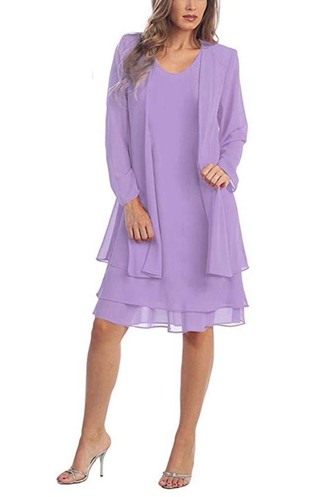 Women\'s Summer Chiffon Plus Size Mother Dresses for Weddings Long Sleeve  Mother of The Bride Dresses with Jacket Knee Length Lilac