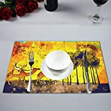 InterestPrint Africa Retro Vintage Style Man on Camel Polyester Fabric Placemat Plate Mat Holder Set of 4, Washable Heat Insulation Resistant Table Mats Protector 12''x18''