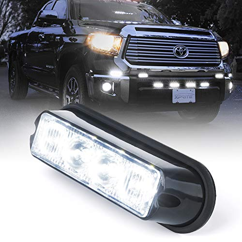 Xprite White 4 LED 4 Watt Emergency Vehicle Waterproof Surface Mount Deck Dash Grille Strobe Light Warning Police Light Head with Clear Lens