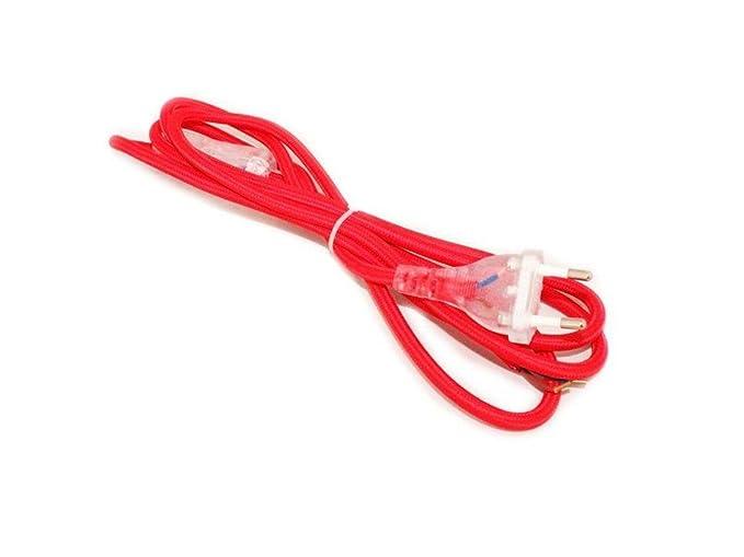 Cavo cablato colorato rosso con spina e interruttore cm