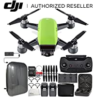 DJI Spark Portable Mini Drone Quadcopter Fly More Combo Hardshell Backpack Bundle (Meadow Green)
