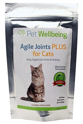 Pet Wellbeing - Agile Joints PLUS for Cats - Natural Hip and Joint Support for Cats with New Zealand Green lipped Muscle, MSM and Glucosamine - 60 chews