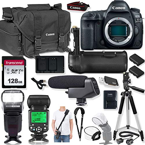 Canon EOS 5D Mark IV DSLR Camera (Body Only) Kit with Premium Canon Case, Auto TTL Speed Light Flash, 128GB Memory Card & Professional Photo/Video Kit