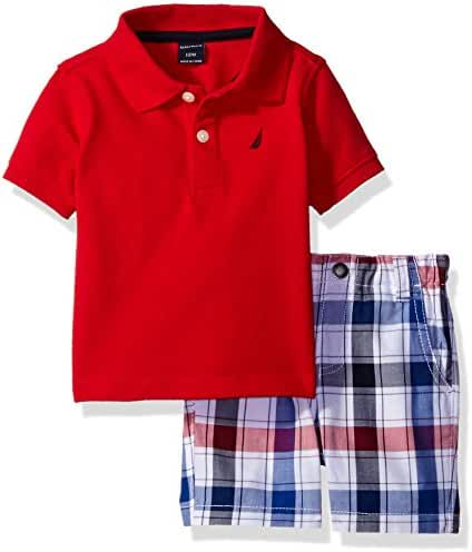Nautica Baby Boys Solid Polo with Pattern Pull on Short Set,Carmine,24 Months