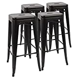 Devoko Metal Bar Stool 30'' Stackable Backless Bar Stools Indoor-Outdoor Counter Height Barstools with Square Seat Set of 4 (Black)
