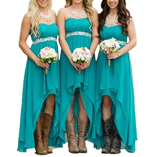 EUMI Chiffon Bridesmaid Dresses High Low Strapless Country Bridal Wedding Party Gowns, Turquoise 14