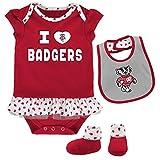 Outerstuff NCAA Wisconsin Badgers Newborn & Infant Team Love Bib & Booties Set, Dark Red, 18 Months