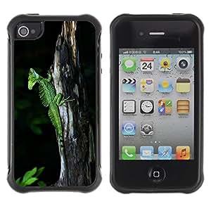 Suave TPU Caso Carcasa de Caucho Funda para Apple Iphone 4 / 4S / Cute Nature Trunk Green Lizard Chameleon / STRONG