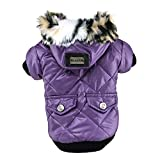 PanDaDa Small Pet Faux Pockets Coat Fur Trimmed Dog Puppy Hoodie Jacket Costume (M(Tag:XL), Purple)