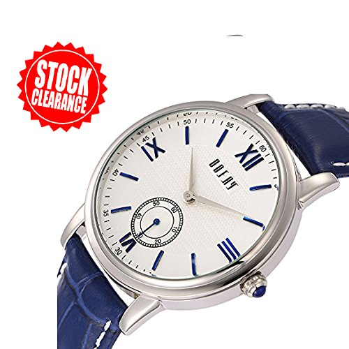 Men's Modern Blue Genuine Leather Band white Dial Wrist Watches 2017 stock