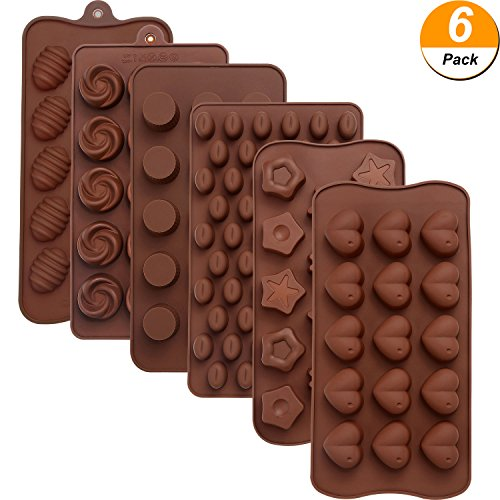 Maxdot 6 Pieces Silicone Chocolate Mold Cake Cookie Mould Candy Baking Mold for Chocolate Cake DIY (Easter Mold Chocolate Candy)