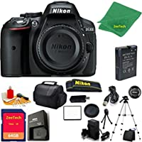 Nikon D5300 DSLR Camera Body Only (Black) + 64 GB Memory Card + Case + Reader + Tripod + 6PC Starter set + Microfiber Cloth + Extra Charger - International Model