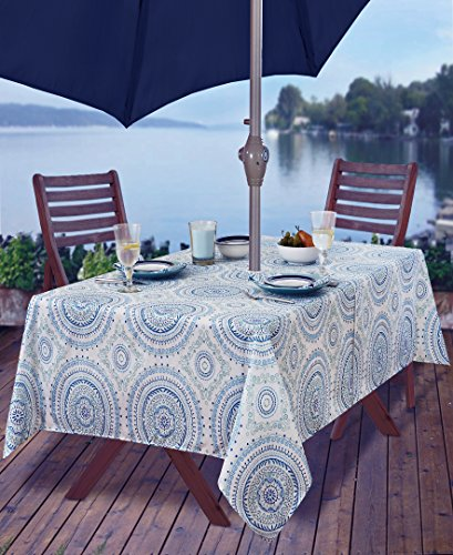 Newbridge Blue Circle Stitch Contemporary Print Indoor/Outdoor Soil Resistant Fabric Tablecloth - 60 X 84 Oblong Zippered Umbrella Hole Patio Tablecloth, Blue ()