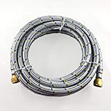 """16' FLEXIBLE STAINLESS STEEL BRAIDED HOSE FOR NATURAL /PROPANE GAS 3/8""""BRASSNUT FEMALE FLARE BOTH END"""