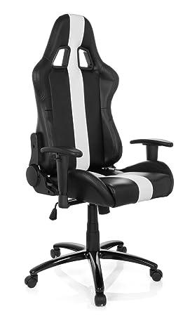HJH Office 729110 Chaise Bureau Gamer Fauteuil Gaming Imola II Noir Blanc Siege
