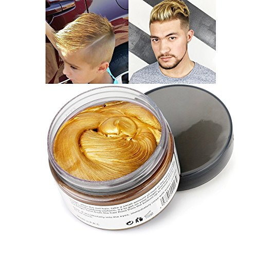 Mofajang Hair Color Wax,INST Temporary Hair Dye,Hair Coloring Wax,Washable Temporary, Natural Hairstyle Color Wax for Party,Halloween,Cosplay(Golden)