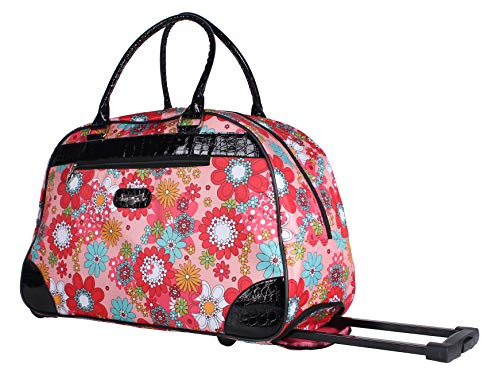 e373df4bbf Kathy Van Zeeland Luggage 22 Inch Rolling Carry On Printed Wheeled Duffel  (Garden Peach,