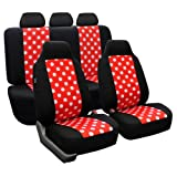 FH GROUP FH-FB115115 Full Set Polka Dots Car Seat Covers for Car Van and SUV, Red / Black color- Fit Most Car, Truck, Suv, or Van