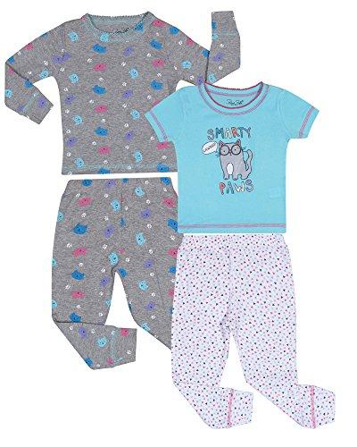 Rene Rofe Girl 4-Piece Snug Fit Cotton Pajama Set, Smarty Paws, Size 8' (8' Four)