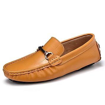 Jiuyue-shoes Mocasines de conducción para Hombres, Mocasines de Barco de Cuero Genuino a