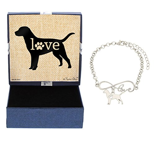 Labrador Dog Gift Box (Mother's Day Gifts Love Labrador Lab Bracelet Gift Love Charm Dog Breed Silhouette Charm Bracelet Silver-Tone Bracelet Gift for Labrador Retriever Owner Jewelry Box)