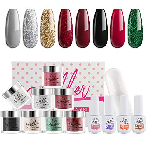 Aikker 13pcs Acrylic Dipping Powder Nail Starter Kit 8 Color Dip Powder - Christmas Set AK10