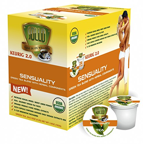 SOLLO Single Serve Keurig 2.0 Compatible GREEN TEA Pods, Extra Strength Libido Boost For Men & Woman, Maca Extract, Ginseng Extract, Damiana extract, Super Libido Booster, 24 Cups Count in Box