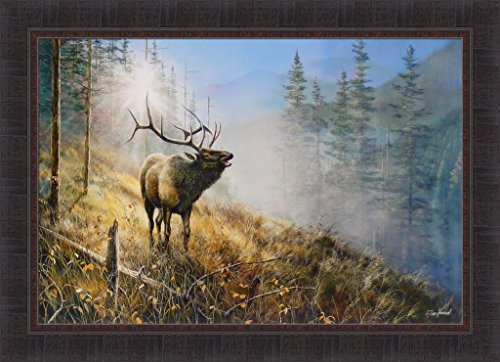 - Song In The Mist by Jim Hansel 24x33 Bull Elk Wildlife Framed Art Print Wall Décor Picture