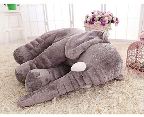 Large Baby Kids Toddler Stuffed Elephant Plush Pillow Gray
