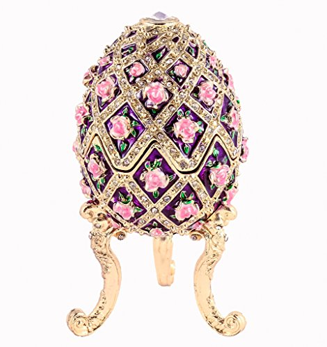 Design Hand Painted Collectible - Ciel Collectables Musical Egg Trinket Box, Floral Design, Swarovski Crystal, Hand Painted Purple & Pink Enamel, Over Pewter, Inside of Box with Lovely Enamel, L 2.75 X H 4.50 X W 2.75