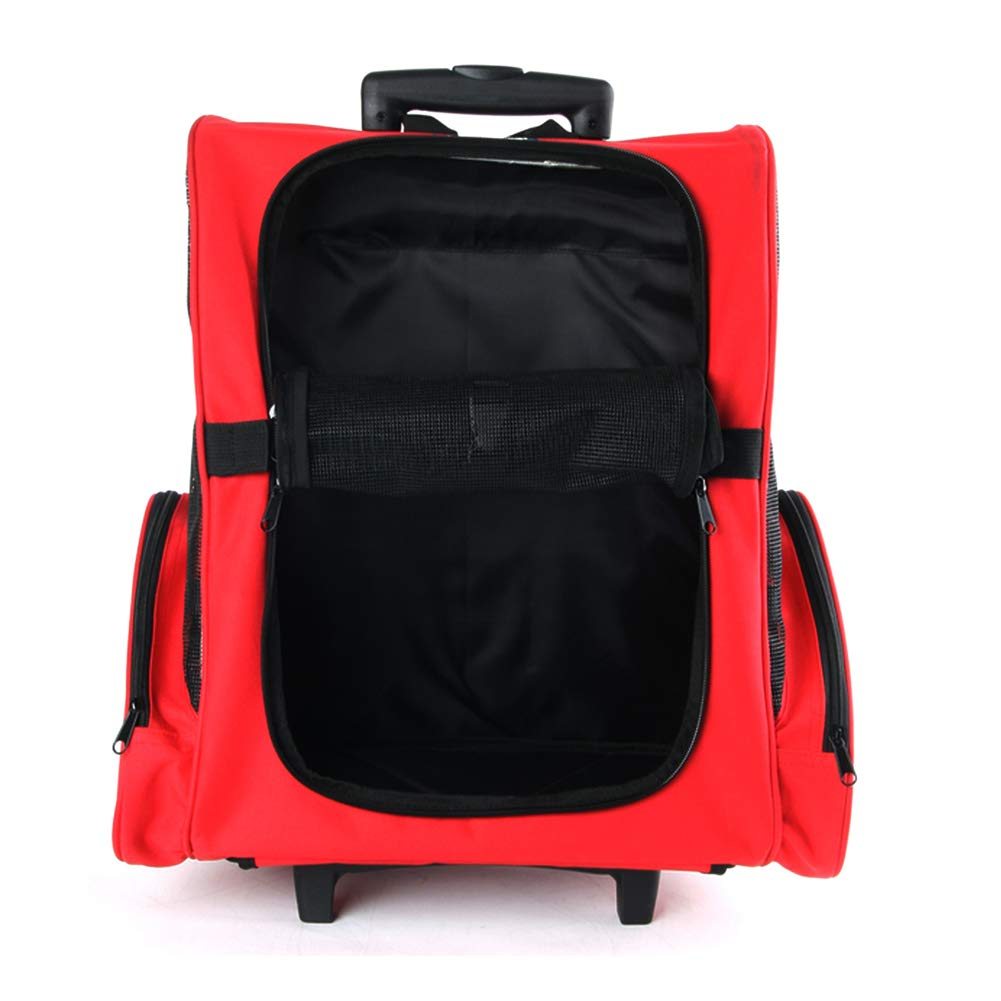Pet Carrier Dog Backpack Red Double Wheel Extended Trolley case Foldable air Box