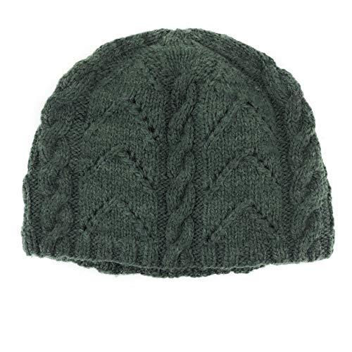 Hand Knit Genuine Alpaca Cable Pattern Winter Hat Warm Fleece Lined (Forest Green)