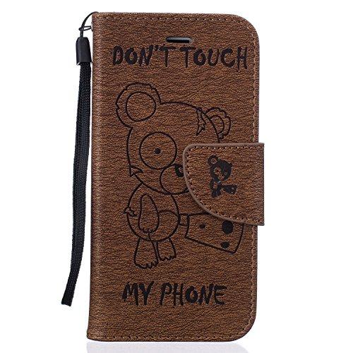 Für Apple iPhone 7 Plus (5,5 Zoll) Tasche ZeWoo® Ledertasche Kunstleder Brieftasche Hülle PU Leder Schutzhülle Case Cover - BF068 / Braunbär
