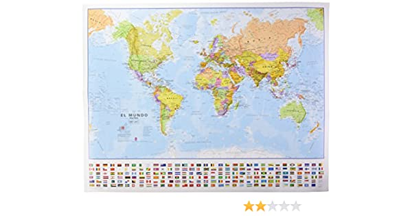 Mapa mural del Mundo castellano con banderas 68x53 cm escala 1:60.000.000. Maps International.: Amazon.es: VV.AA.: Libros