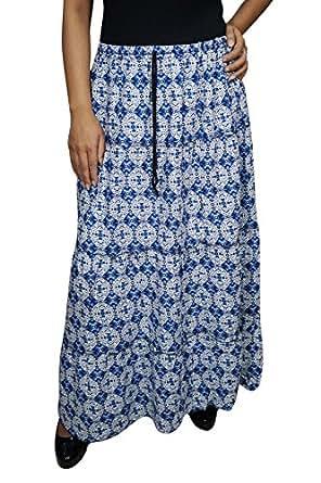 Womens Bohemian Skirt Ludovica Blue Geometric Swirling Full length Cotton Skirts Large