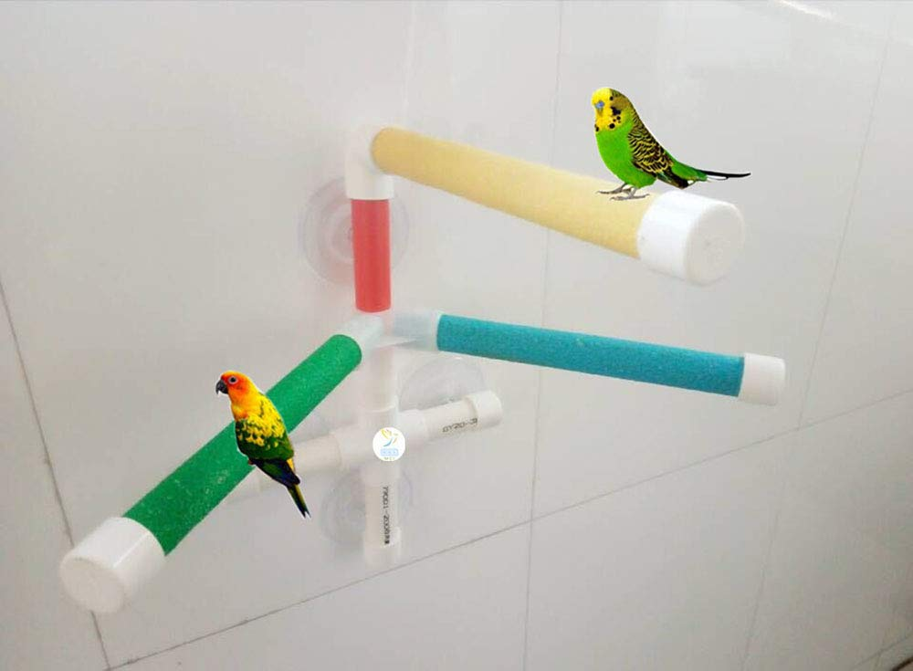 UTOPIAY Upgrade Parrot Bath Perches Bird Standing Platform Rack Suction Cup Window Shower Bird Bath Toys Frame by UTOPIAY