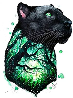 WYUEN 5 hojas Panther Body Art Adhesivo de Tatuaje Temporal para ...