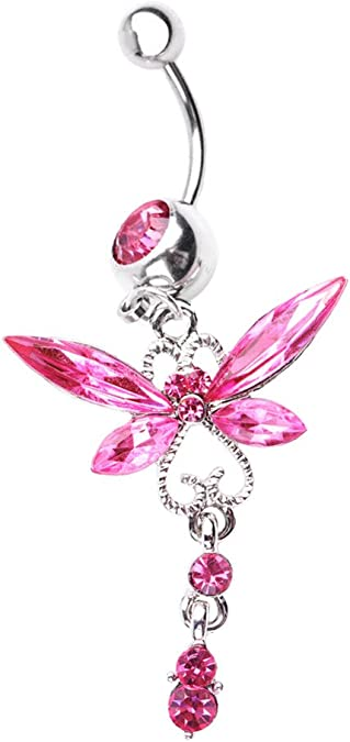 Freedom Fashion Dragonfly Wing Sparkle 316L Surgical Steel Belly Button Ring Sold by Piece