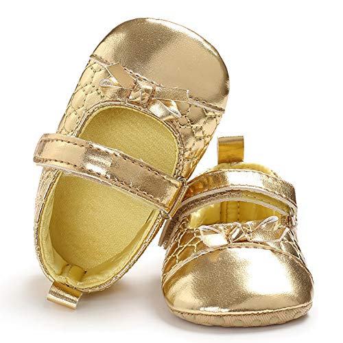 - yuye-xthriv Faux Leather Infant Baby Girls Bowknot Soft Anti-Slip Prewalker Toddler Shoes Golden 11(3-5M)