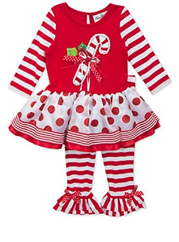 RARE EDITIONS RED KNIT TOP CANDY CANE ORGANZA TUTU SET (4T) (Candy Cane Outfit)
