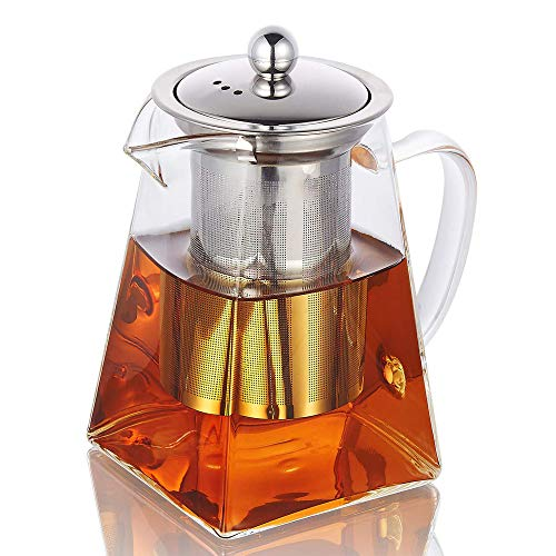 Glass Teapot with Infuser, 750ml/26.4oz Clear High Borosilicate Glass Tea Pot with Removable Tea Strainers for Loose Leaf Tea, Heat Resistant Loose Leaf Teapot, Microwavable and Stovetop Safe