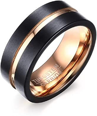 Starryinter Tungsten Black Wedding Band Ring 8mm for Men Women Rose Golden Center Line and Inside Brushed Polished-R460