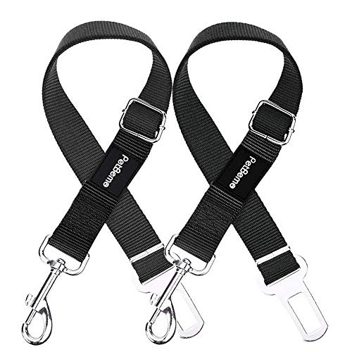 PetBemo Car Seat Belt for Dog and Cat 2 Packs Adjustable Dog Seatbelt Pet Vehicle Harness Safety Leads Heavy Duty & Durable with Customized Buckle Black, 1-Year Warranty