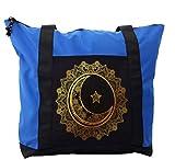 Lunarable Mandala Shoulder Bag, Crescent Moon Arabic Star, Durable with Zipper