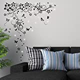 Walplus Wall Stickers Swarovski Crystals & Butterfly Vine Murals Café Hotel Restaurant Office Home Decoration