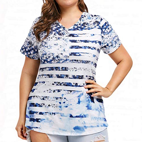 leeve Patriotic Plus Size Lady American Flag Print T-Shirt White ()