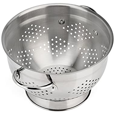Raishi Stainless Steel Colander for Easy Cleaning - 5 Quart High Grade Guaranteed. Best Metal Colander.